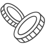 graphic of coins with reeded edges