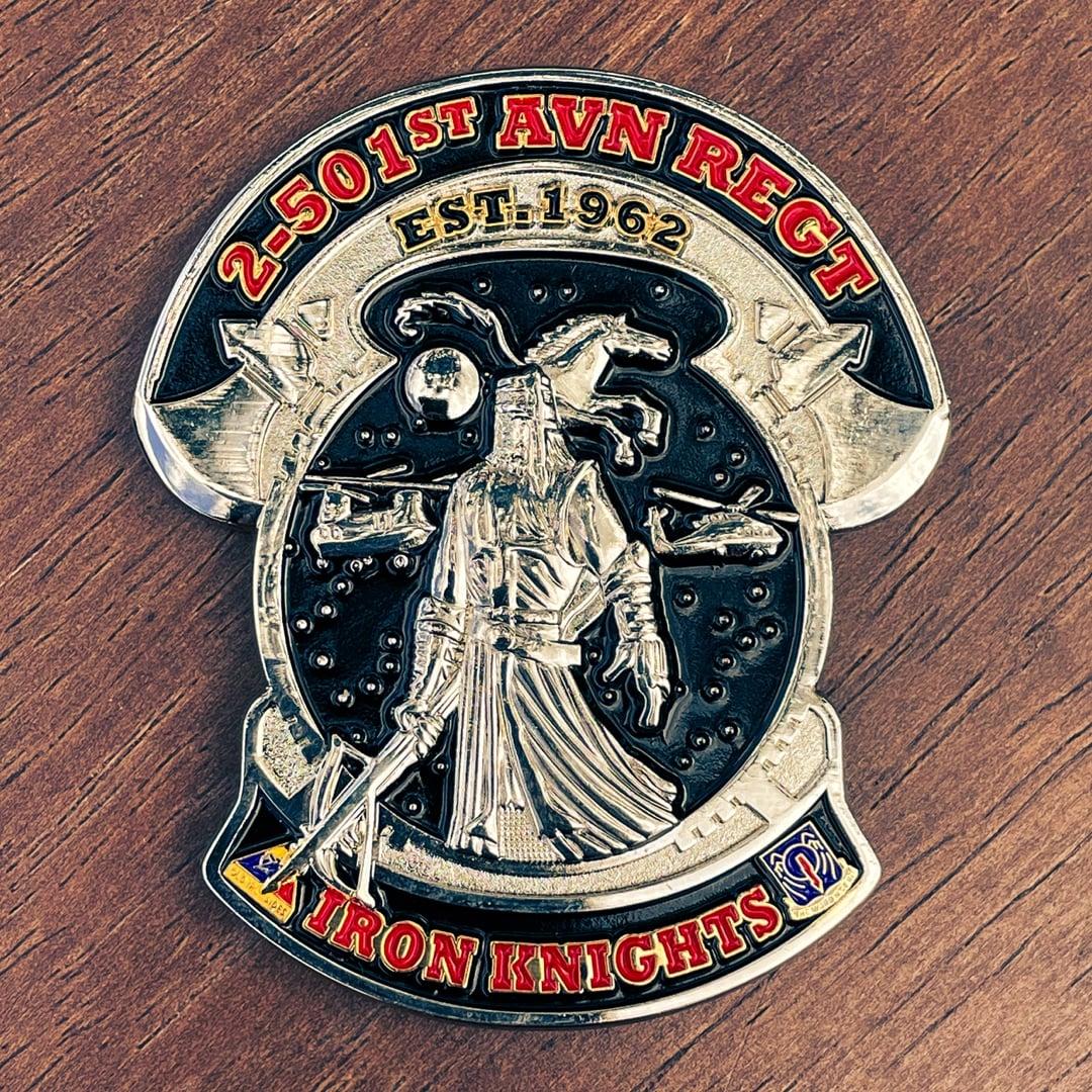 2-501St Avn Regt Iron Knights Polished Silver Custom Shape