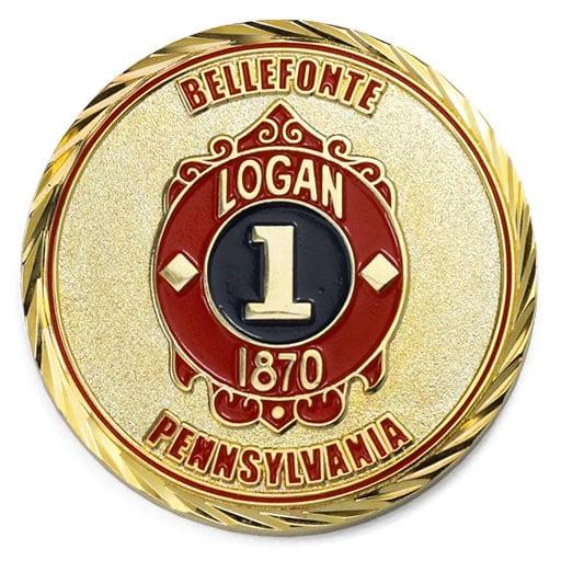 Bellefonte Pennsylvania Firefighter Polished Gold Oblique Edge