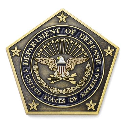 Department Of Defense Eagle Shield Arrows Pentagon Antique Gold Custom Shapes