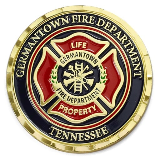 Germantown Fire Department Maltese Cross Polished Gold Wave Edge