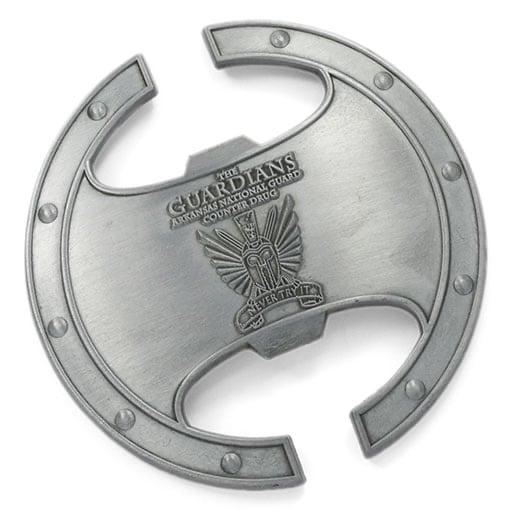 Guardians Roman Shield Antique Silver Bottle Opener Cutouts
