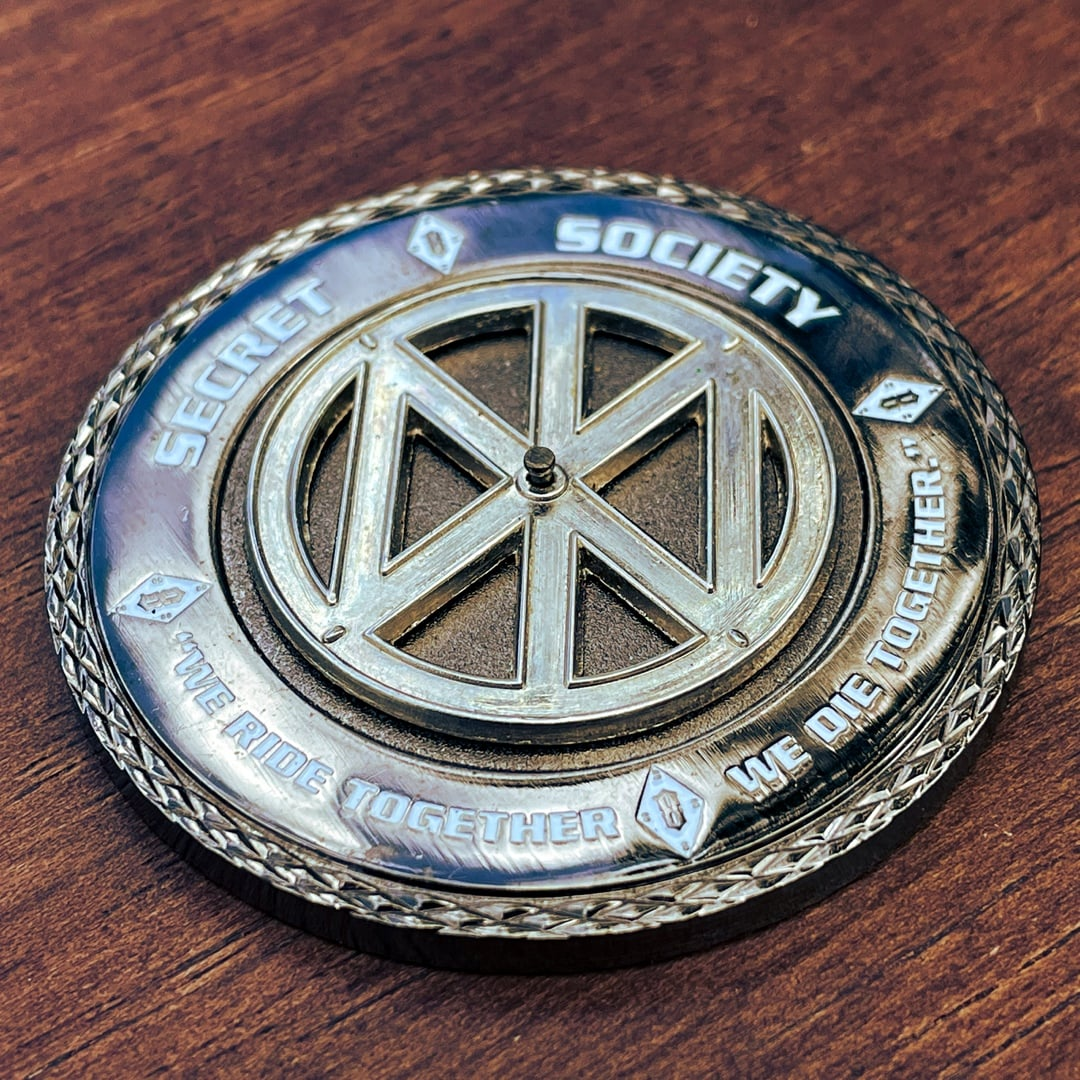 Iron Order Motorcycle Polished Silver Crosscut Edge Spinner