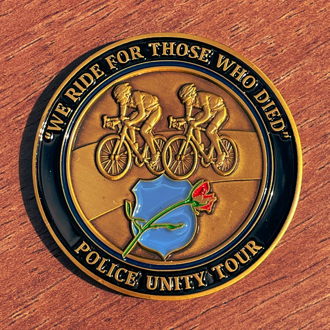 Police Unity Tour Riding Bicycles Antique Gold