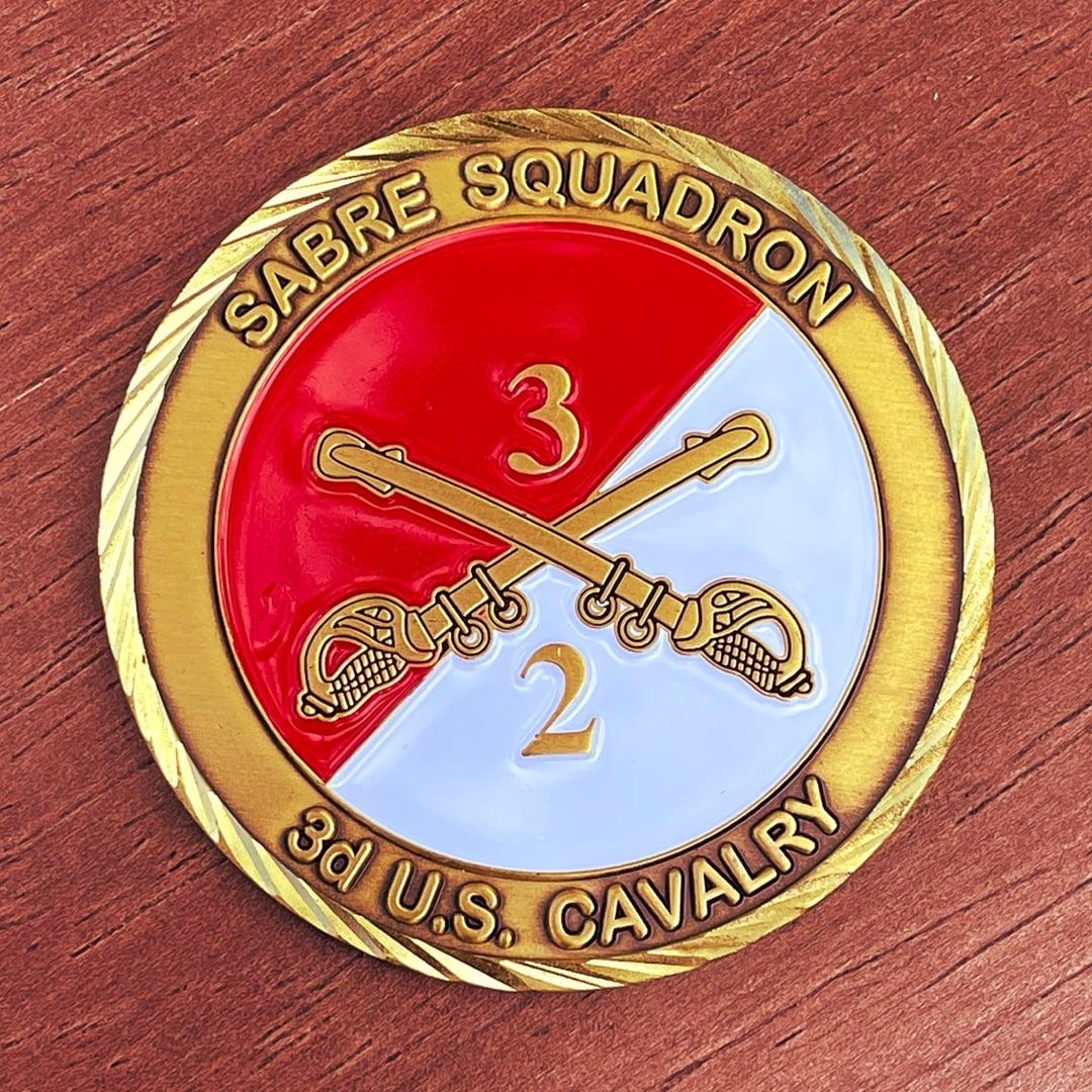 Sabre Squadron 3D Us Cavalry Antique Gold Oblique Edge