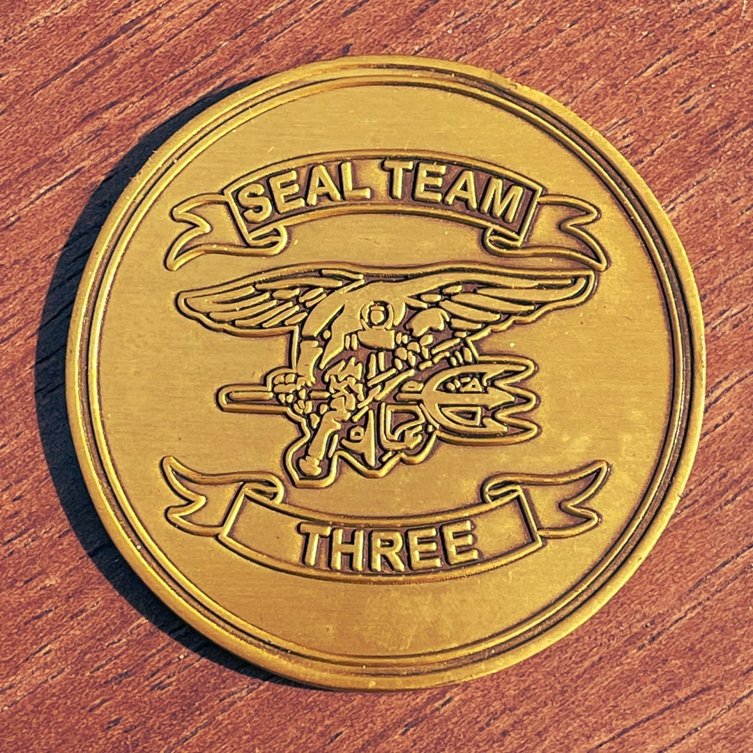 Seal Team Three Eagle Military Antique Gold