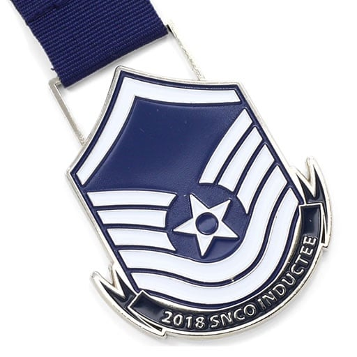 Snco Inductee Polished Silver Medal Ribbon