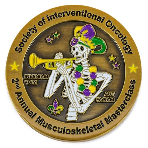 Society Of Interventional Oncology Mardigras Skeleton Antique Gold