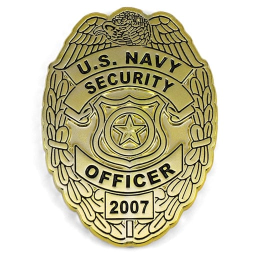 Us Navy Security Officer Polished Brass Badge Custom Shape