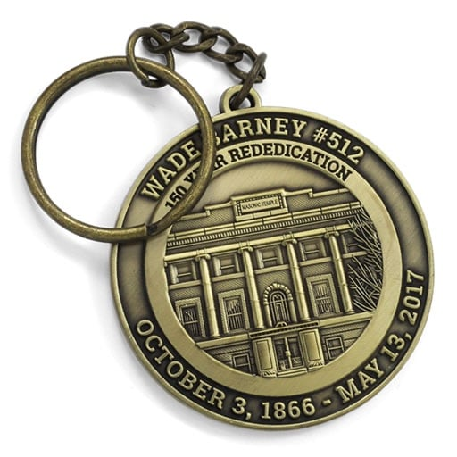 Wade Barney Historical Building Antique Gold Keyring