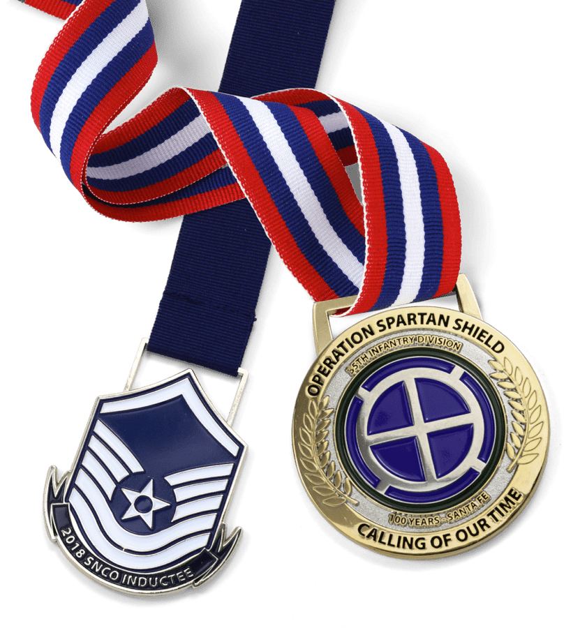2 medals on colorful ribbons