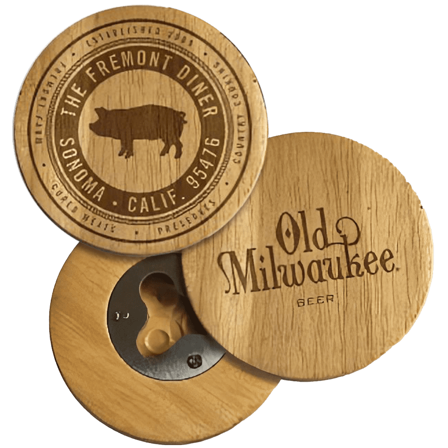 wooden bottle openers with custom designs