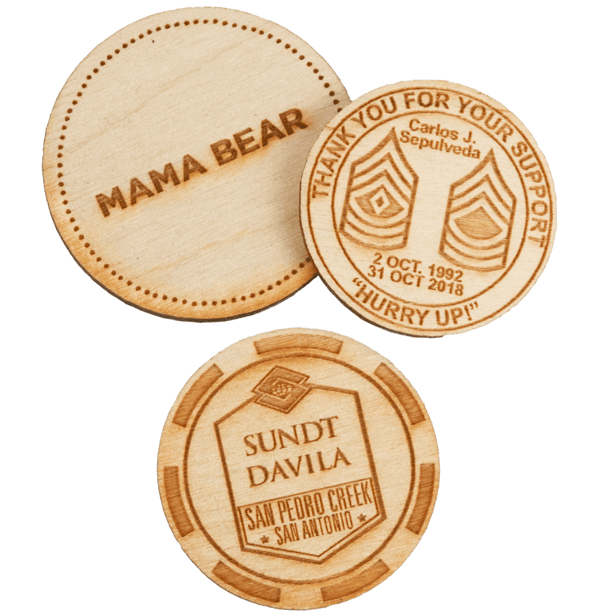 wooden poker chips with custom designs