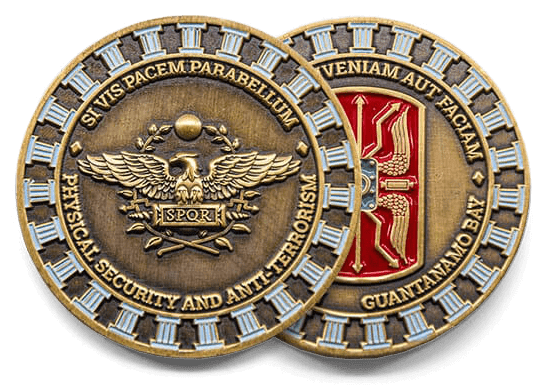 military challenge coin with Roman-style design
