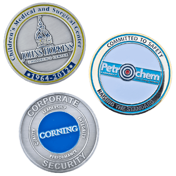 corporate challenge coins with custom designs